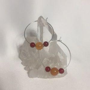 CARNELIAN & YELLOW AVENTURINE Gemstone Earrings